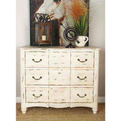 42 in. x 35 in. Large Vintage Distressed Beige Wood Chest of Drawers