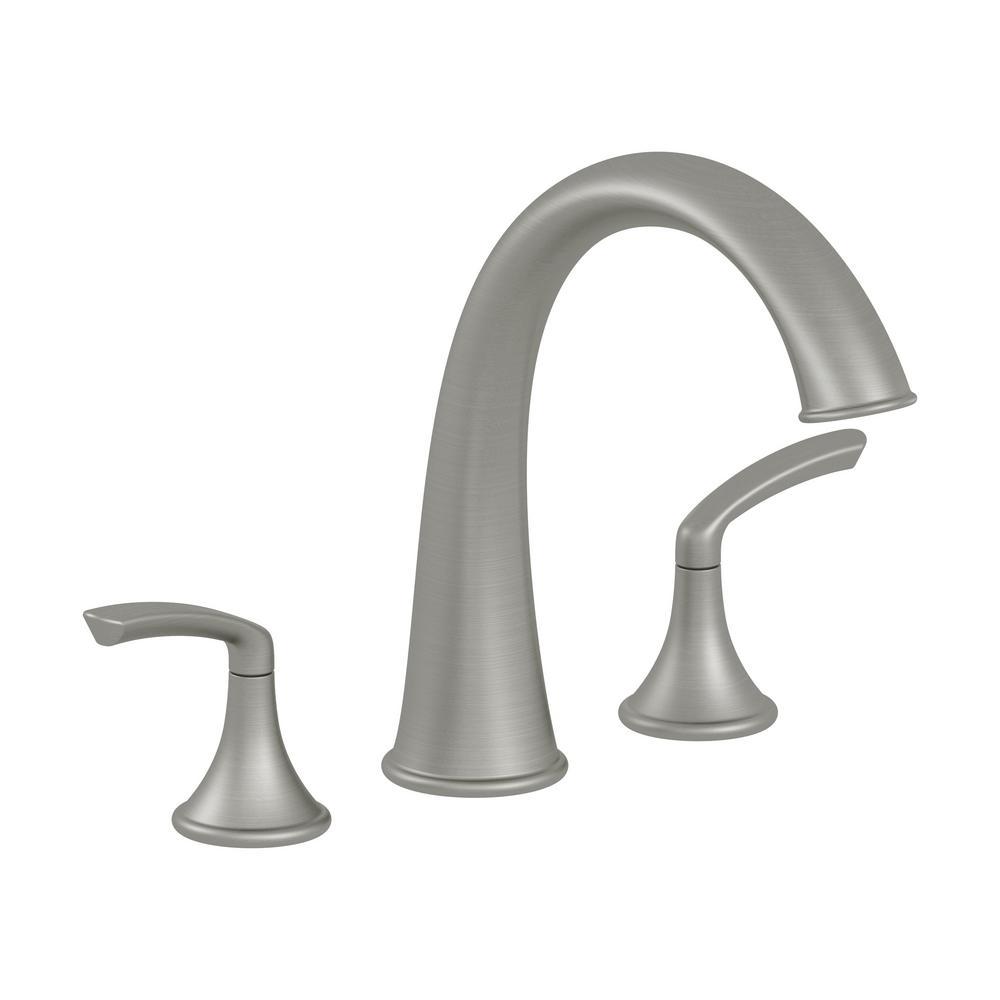 Elm 2-Handle Deck Mounted Roman Tub Faucet in Satin Nickel