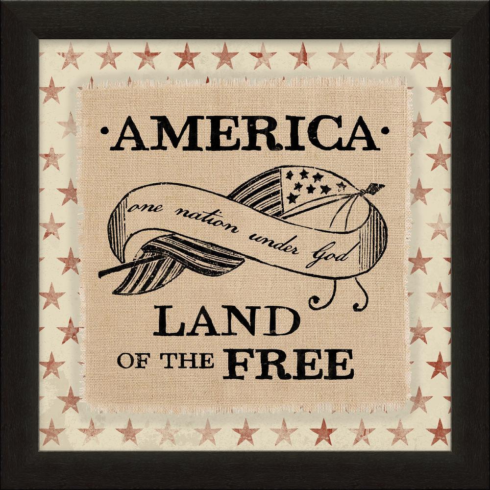 """Vintage Patriotic """"One Nation Under God"""" By Carpentree Framed Natural Canvas"""