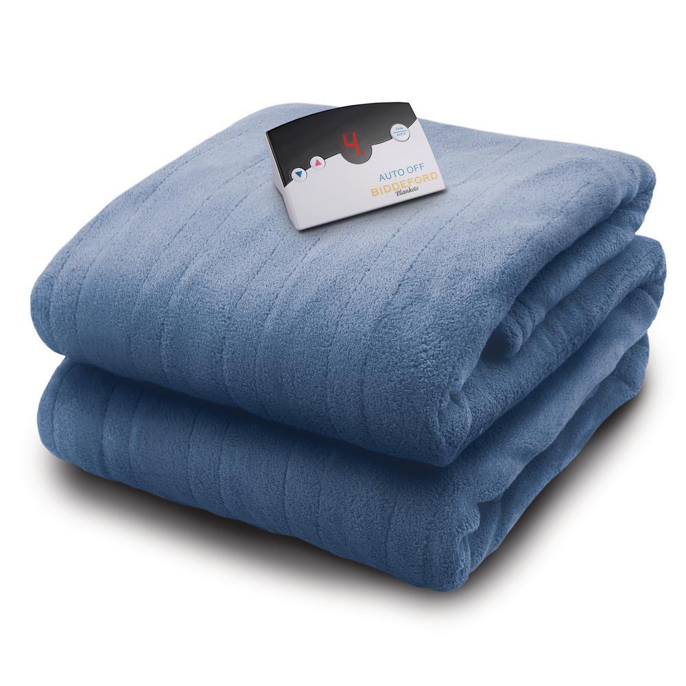 2031 Series Micro Plush Heated 72 in. x 84 in. Arrow Head Blue Full Blanket