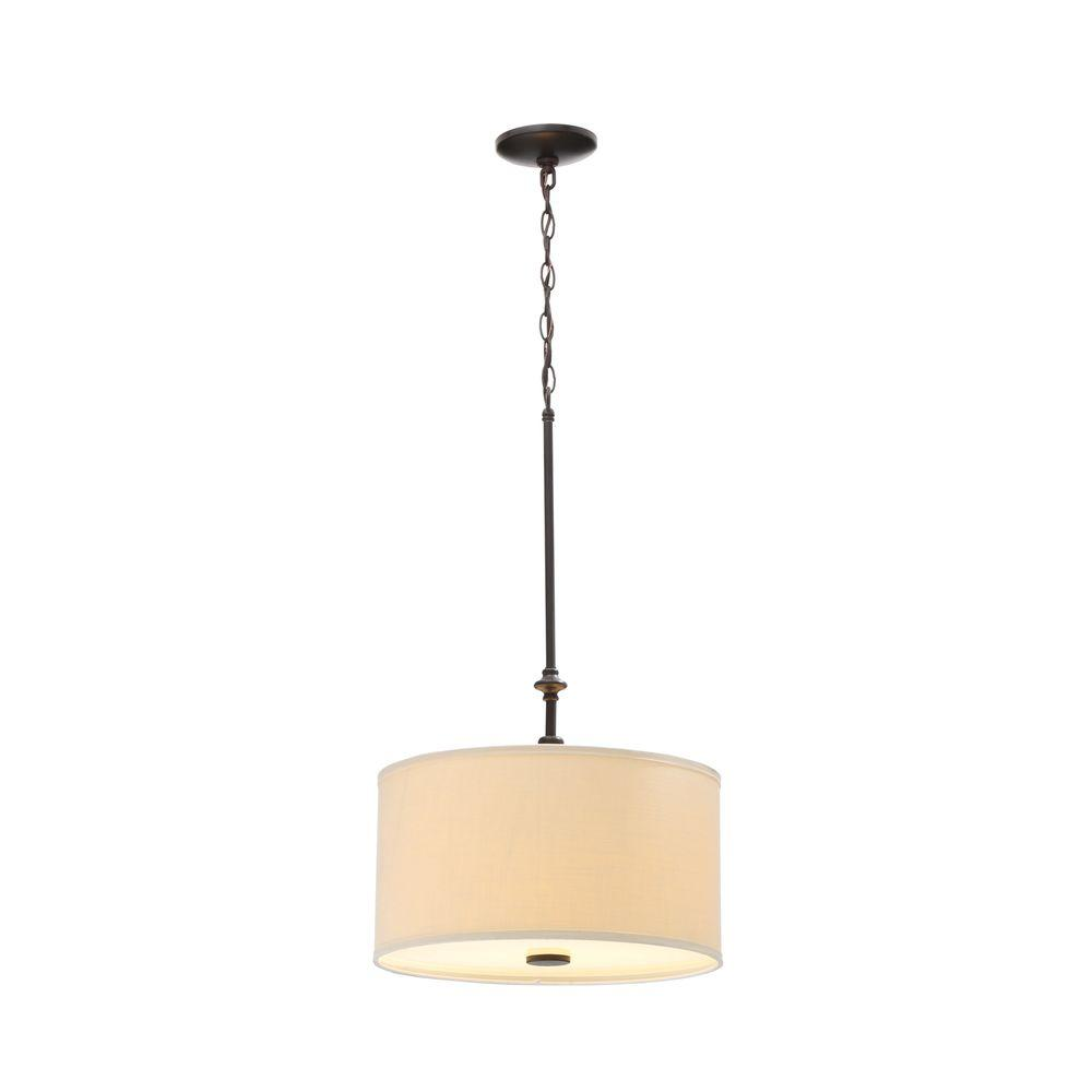 Hampton Bay Quincy 2 Light Oil Rubbed Bronze Drum Pendant With Burlap Fabric Shade