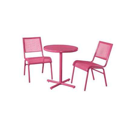 Pink 3-Piece Metal Bixby Outdoor Bistro Set