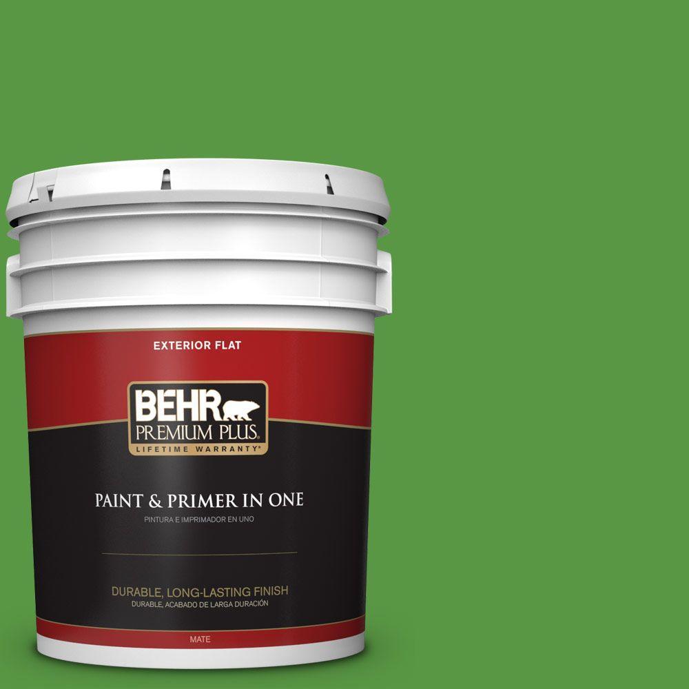 BEHR Premium Plus 5-gal. #430B-7 Cress Green Flat Exterior Paint
