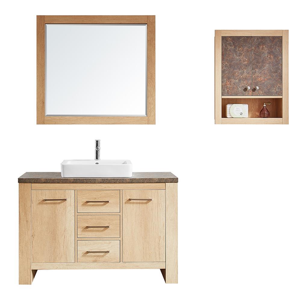 Vinnova Alpine 48 In W X 21 In D Bath Vanity In Oak With Melamine Vanity Top In Rustic Marble With White Basin And Mirror