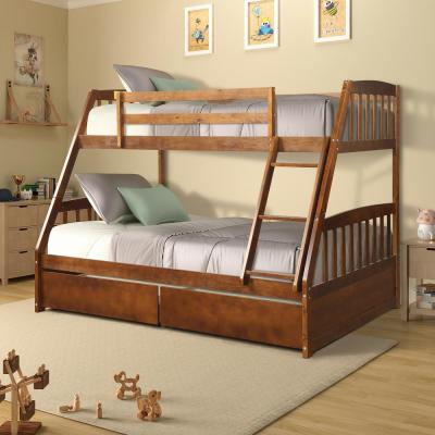 Walnut Solid Wood Twin Over Full Bunk Bed with 2-Storage Drawers