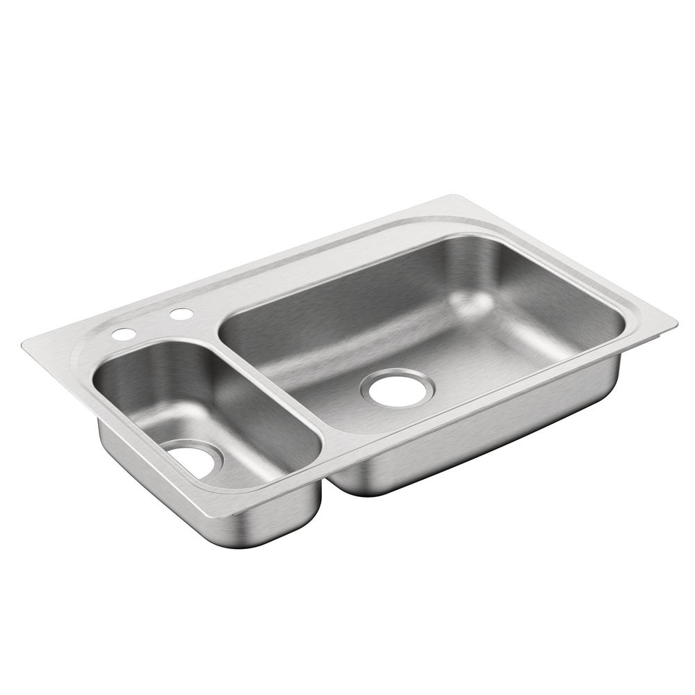 moen stainless steel kitchen sinks moen 2000 series drop in stainless steel 33 in 2 9286