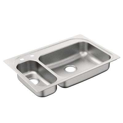 2000 Series Drop-In Stainless Steel 33 in. 2-Hole Double Bowl Kitchen Sink