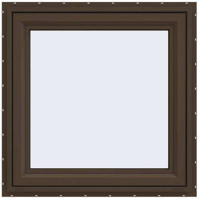 29.5 in. x 29.5 in. V-4500 Series Left-Hand Casement Vinyl Window - Brown