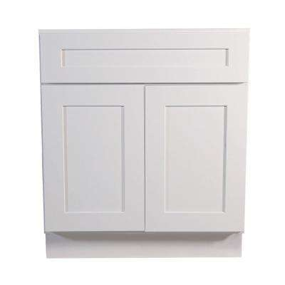 Brookings Ready To Assemble 30 X 34 5 X 24 In Base Cabinet Style 2 Door With 1 Drawer In White