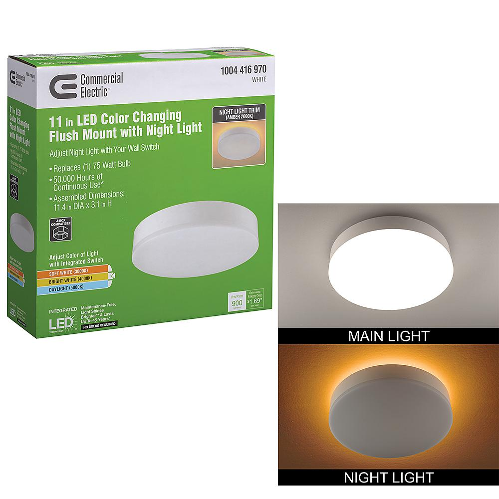 Commercial Electric 16 In Color Changing Selectable Led Flush Mount Ceiling Light With Night Light Feature 1400 Lumens 22 Watts Dimmable 56549101 The Home Depot
