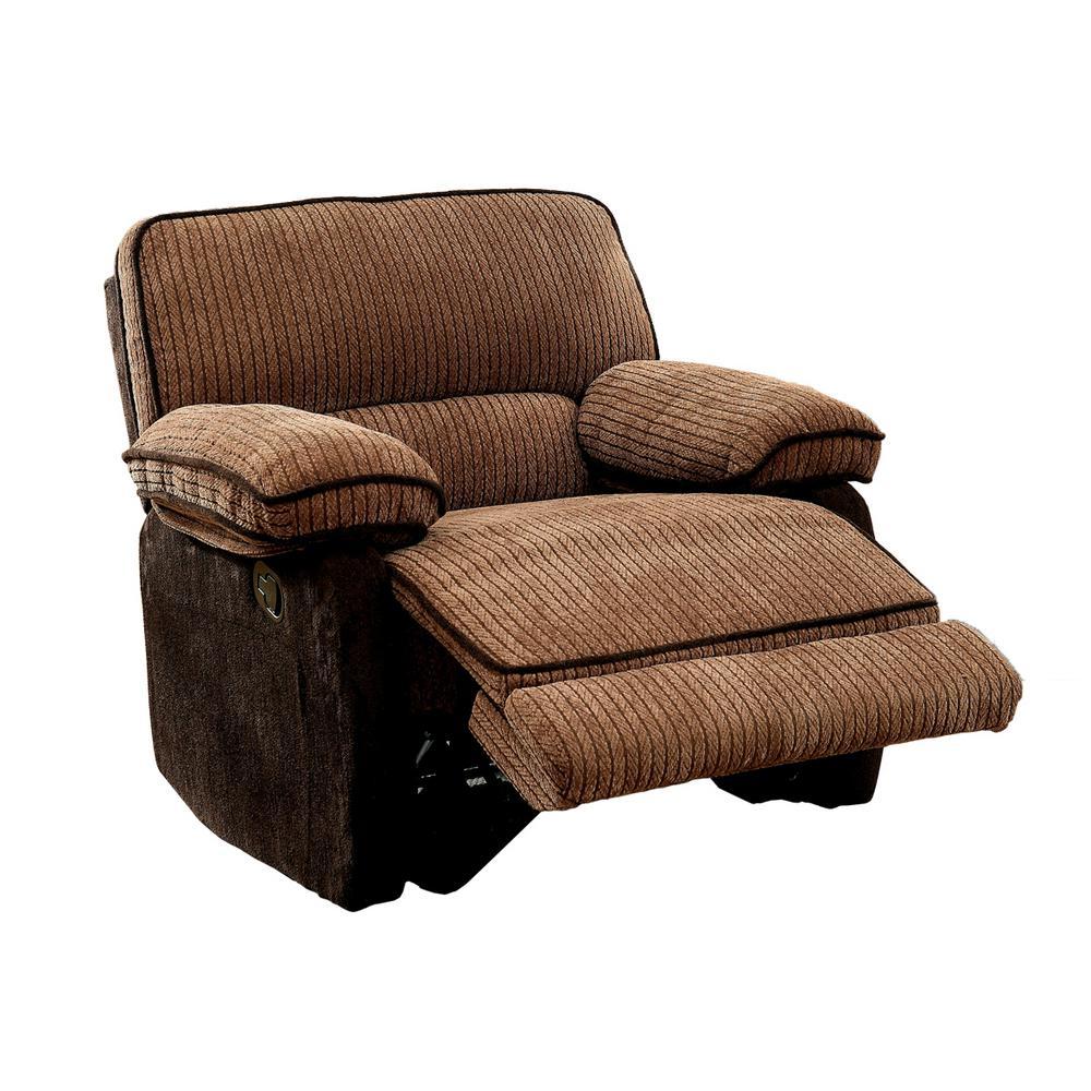 Danelli Brown 2-Tone Chenille Fabric Recliner Chair