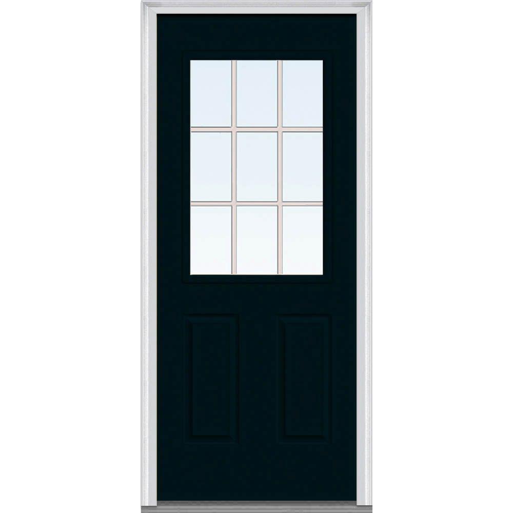 Milliken Millwork 32 in. x 80 in. Classic Clear Glass GBG 1/2-Lite Painted Builder's Choice Steel Prehung Front Door