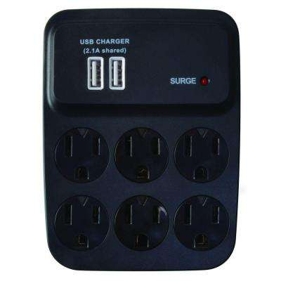 6-Outlet 900-Joule Surge Protector with USB Charger - Black