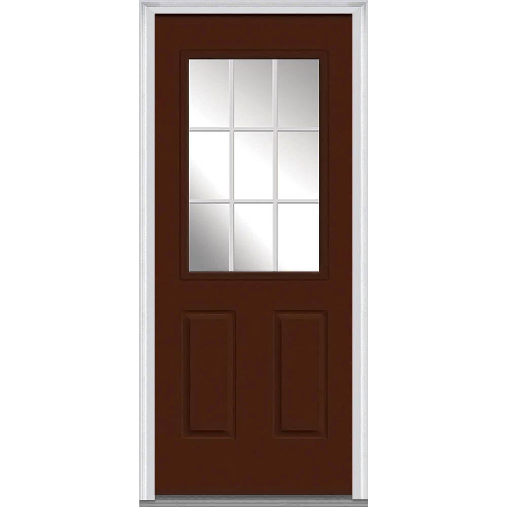 Mmi door 30 in x 80 in grilles between glass left hand inswing 1 2 lite clear 2 panel painted 30 exterior door with glass