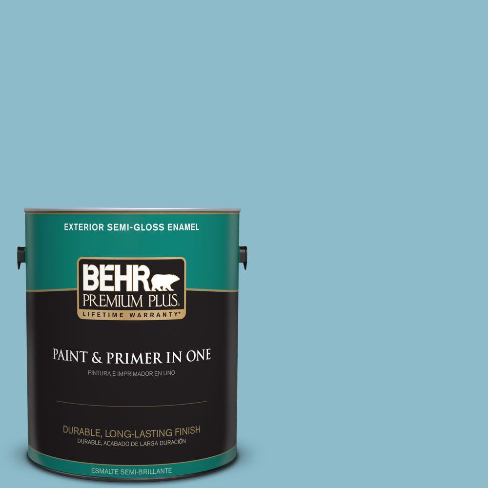1-gal. #S460-3 Blue Echo Semi-Gloss Enamel Exterior Paint