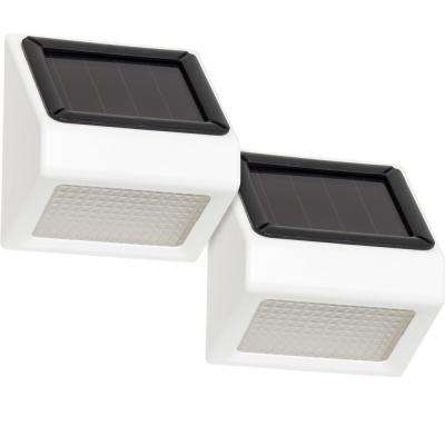Solar Powered White Outdoor Integrated LED Stair Flood Light (2-Pack)