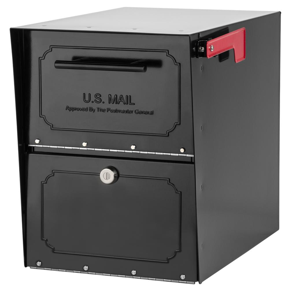 Oasis Clic Locking Post Mount Parcel Mailbox With High Security Reinforced Lock Black