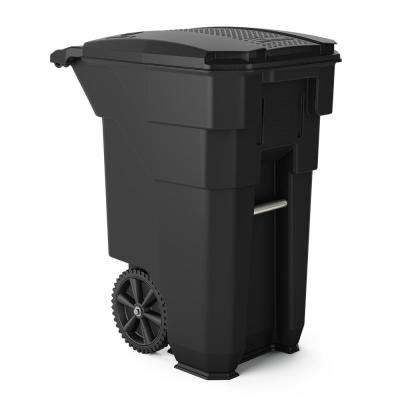50 gal. Gray Plastic Curbside Commercial Trash Can with Wheels and Attached Lid
