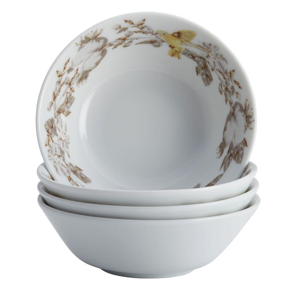 BonJour Dinnerware Fruitful Nectar Porcelain 4-Piece Fruit Bowl Set 54189