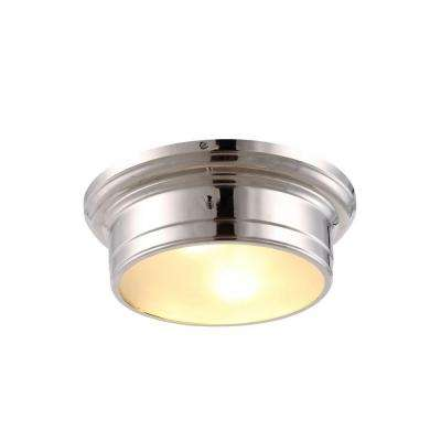 Sansa 2-Light Polished Nickel Flushmount