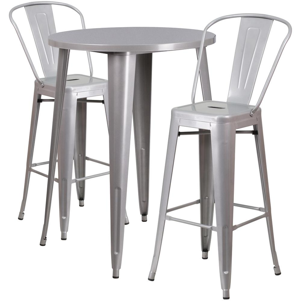 Flash Furniture 30 in. Round Silver Metal Indoor-Outdoor Bar Table ...