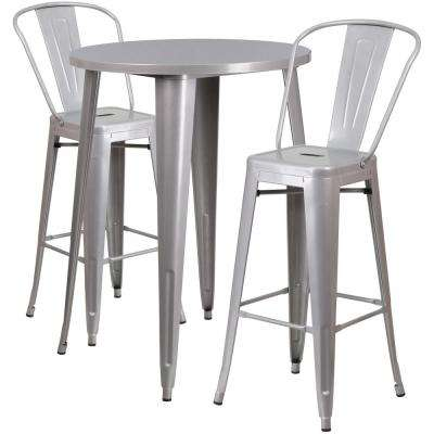 Round Silver Metal Indoor Outdoor Bar Table Set With 2 Cafe