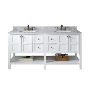 Virtu USA Winterfell 72 inch W x 22 inch D Double Vanity in White with Marble Vanity Top in White with White Basin by Virtu USA