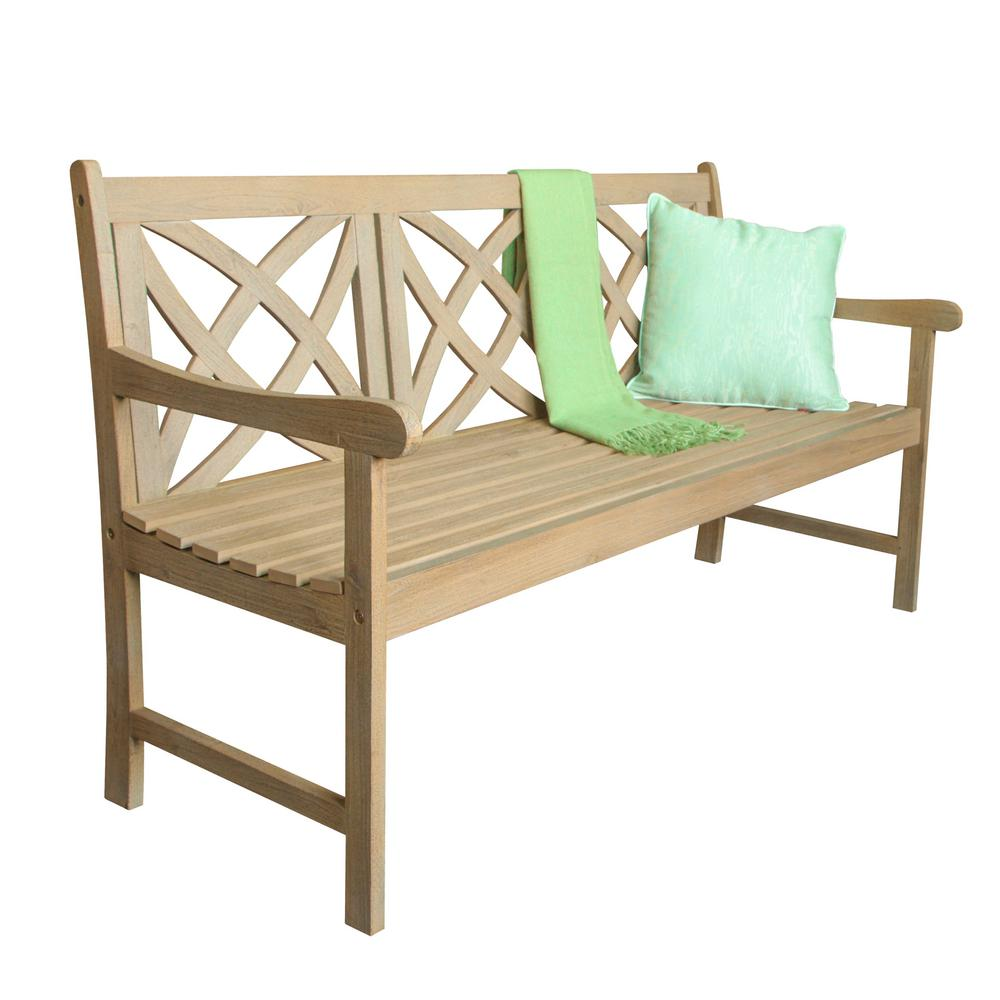 Vifah Beverly Sand Splashed Wood 5 Ft Outdoor Bench