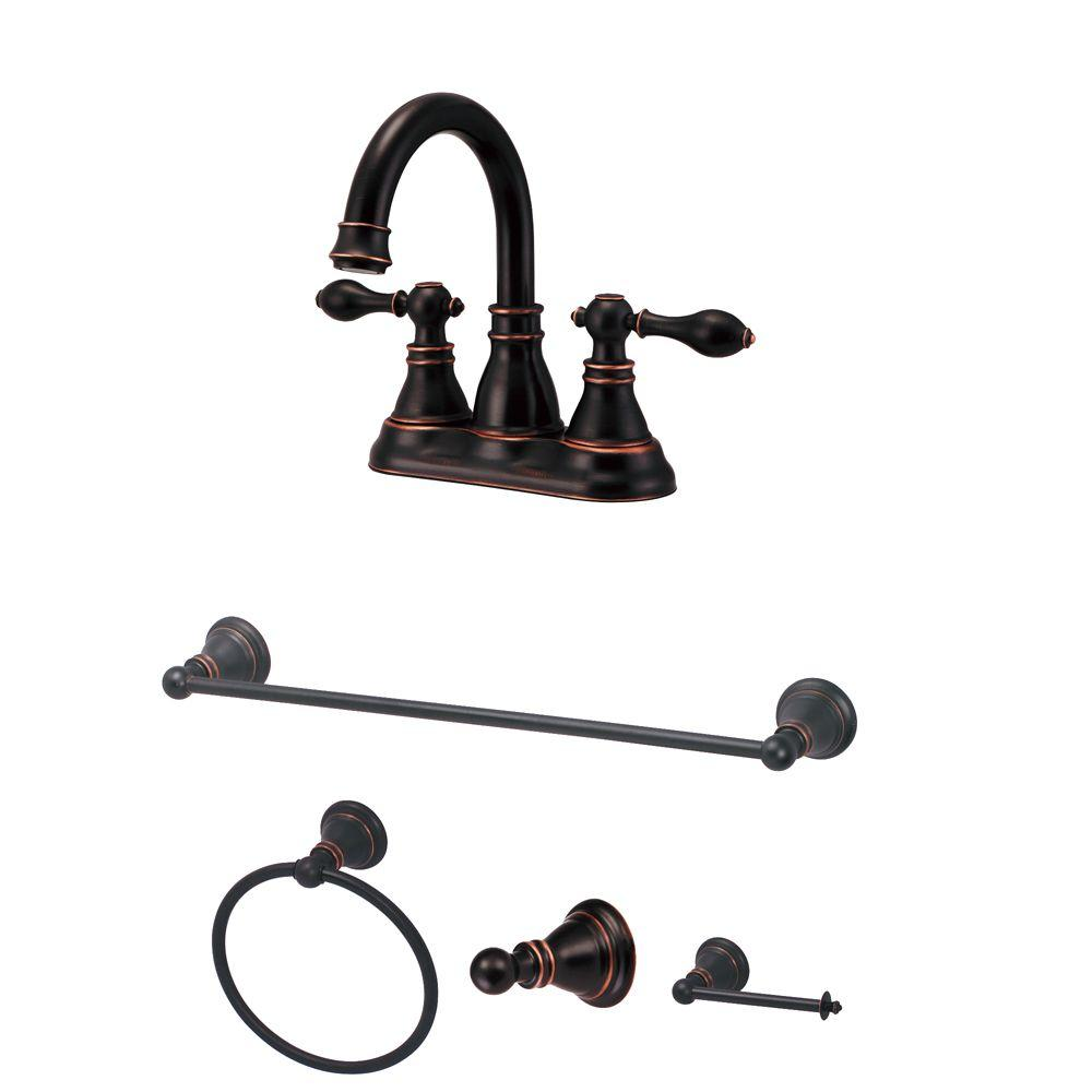 Venetian Bronze Bathroom Accessories Centerset 2-Handle High-Arc Bathroom Faucet and