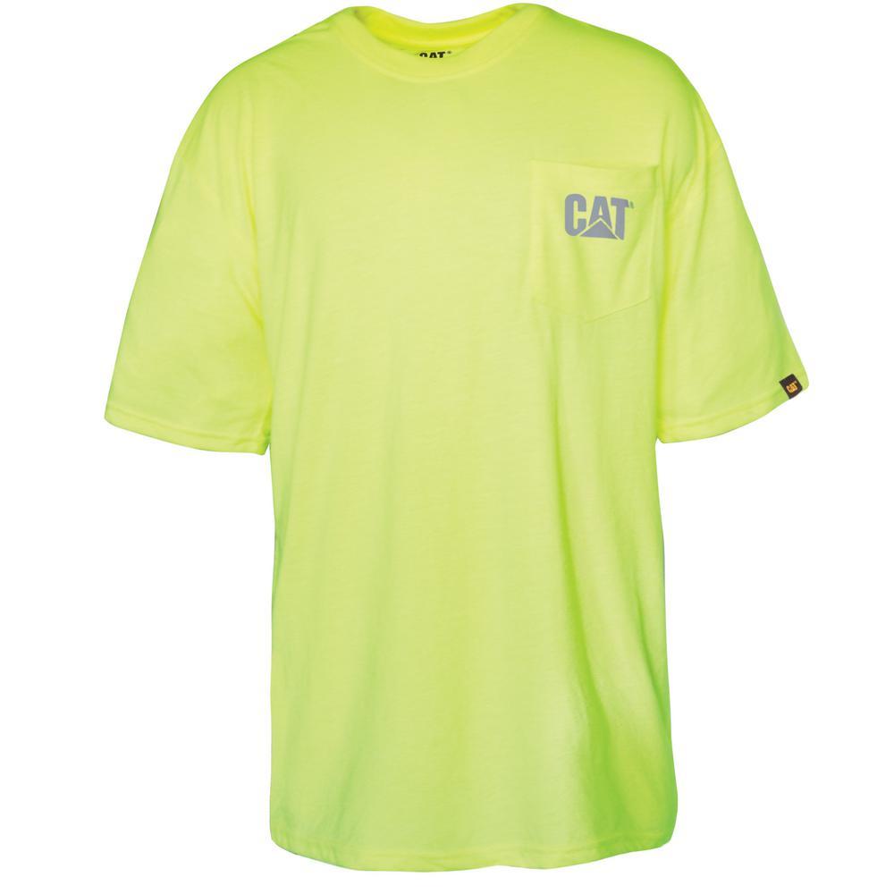 69652eb25324af Caterpillar. Hi-Vis Trademark Men s 2X-Large Yellow Polyester Jersey Short  Sleeved Pocket T-Shirt