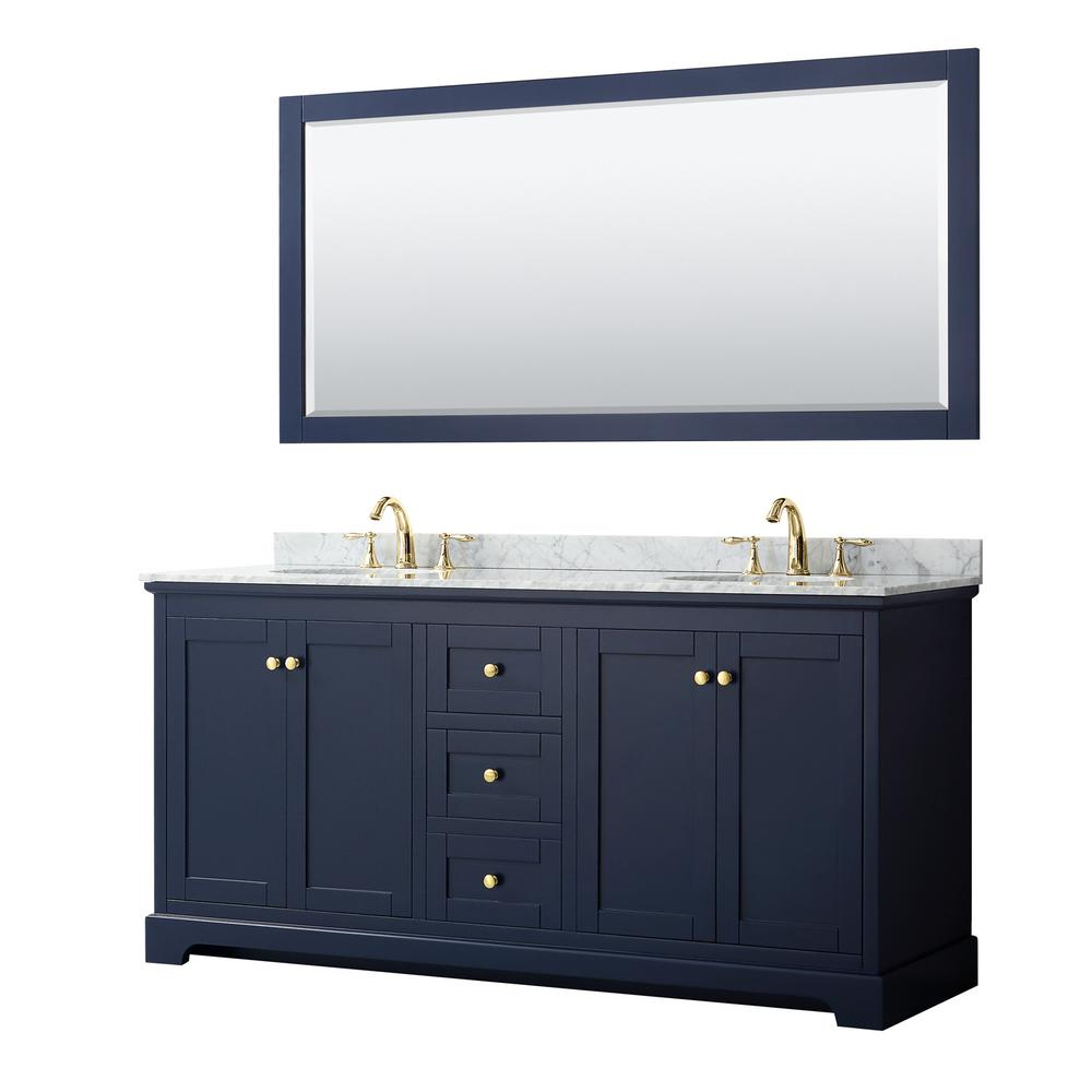 Wyndham Collection Avery 72 in. W x 22 in. D Bath Vanity in Dark Blue with Marble Vanity Top in White Carrara with White Basins and Mirror