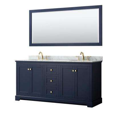Avery 72 in. W x 22 in. D Bath Vanity in Dark Blue with Marble Vanity Top in White Carrara with White Basins and Mirror