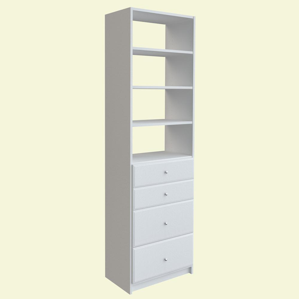 Simplyneu 84 In H X 24 In W White Drawer And Shelving