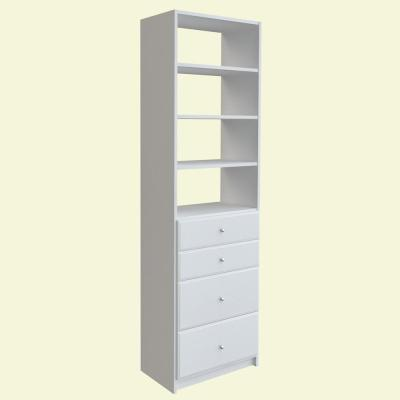 84 in. H x 24 in. W White Drawer and Shelving Tower Kit