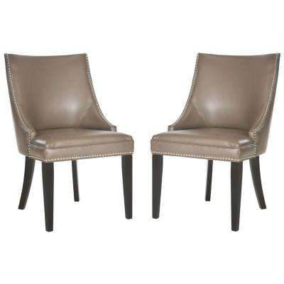 Afton Clay/Espresso Bicast Leather Side Chair (Set of 2)