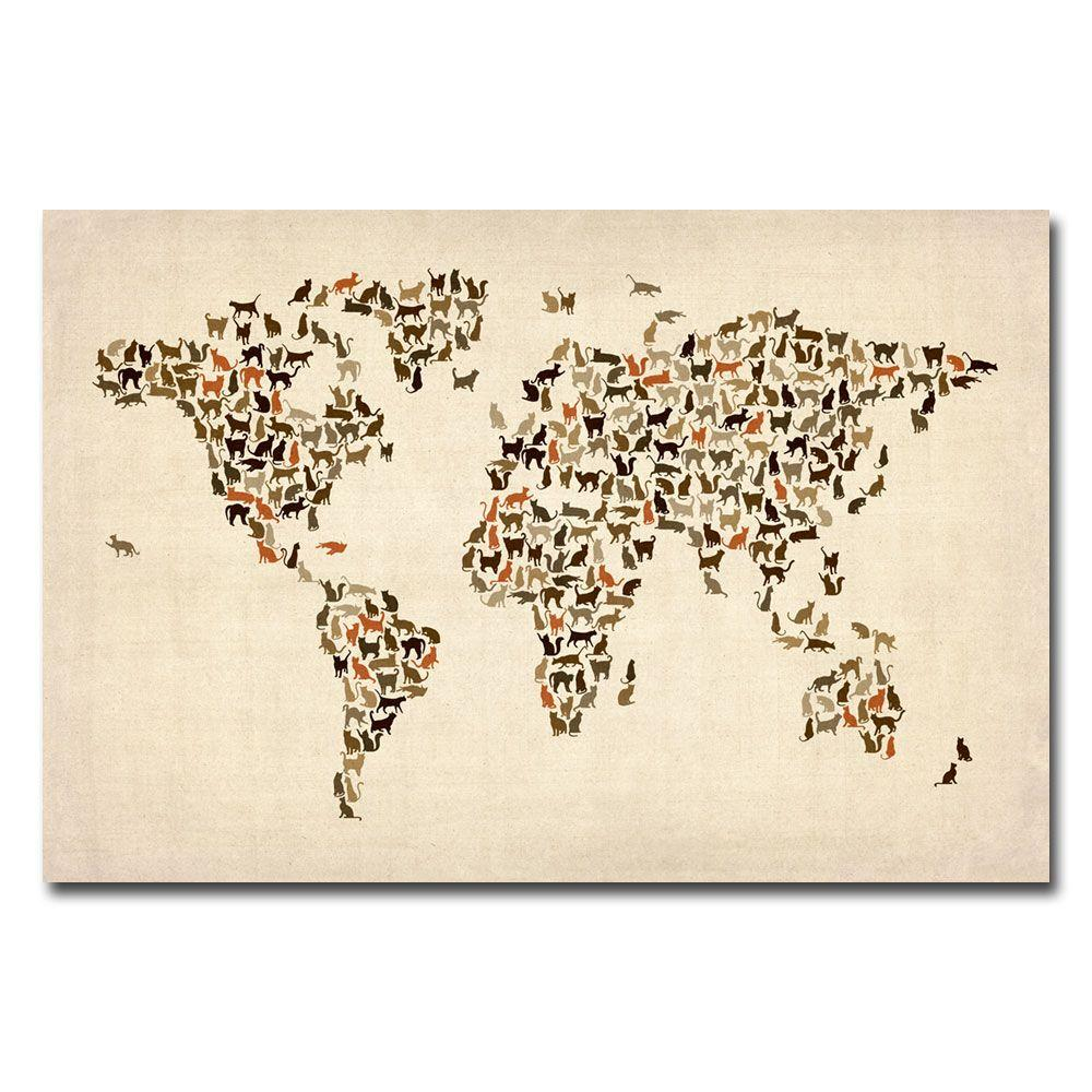 16 in. x 24 in. World Map of Cats Canvas Art MT0006 C1624GG   The