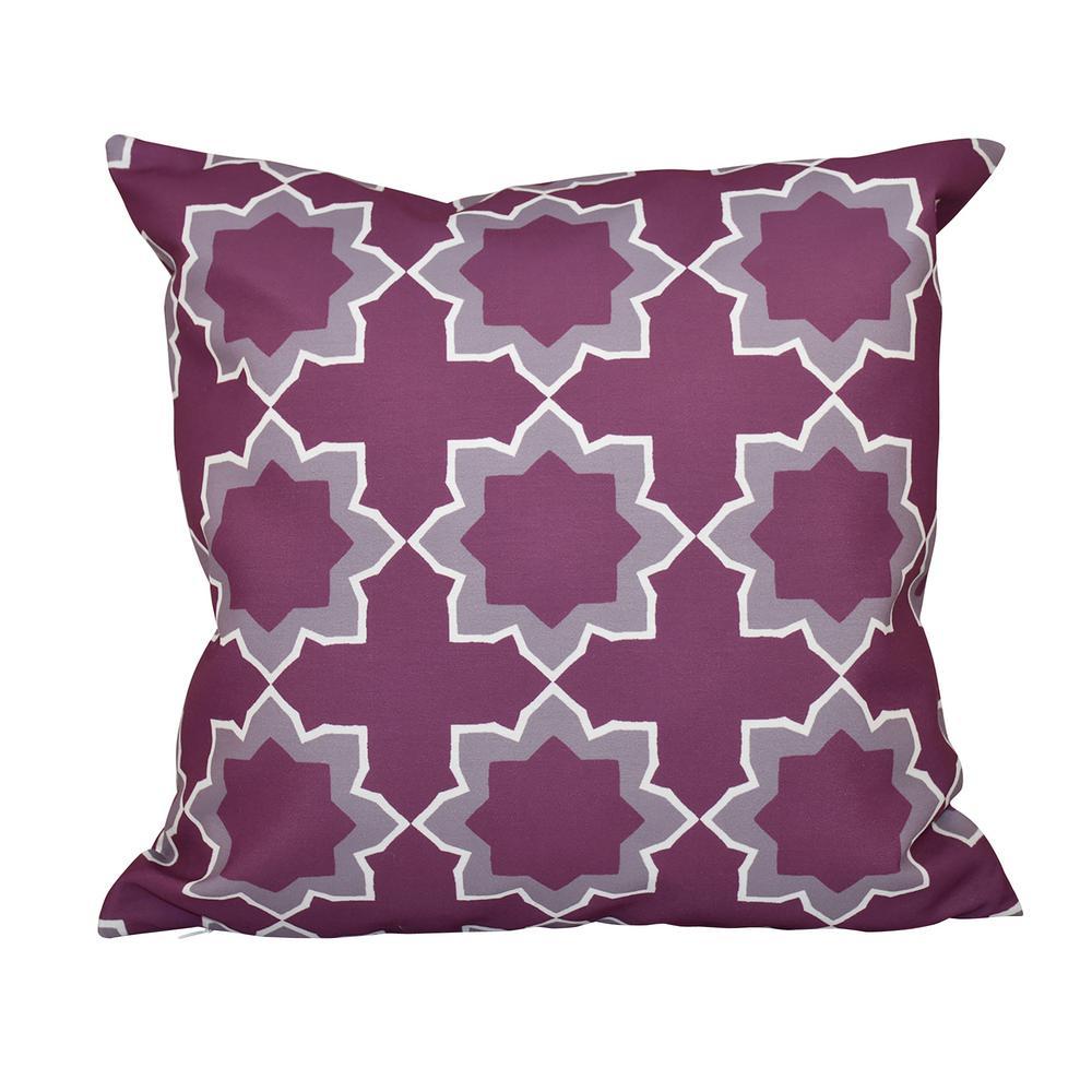 Bohemian Purple Geometric 16 in. x 16 in. Throw Pillow