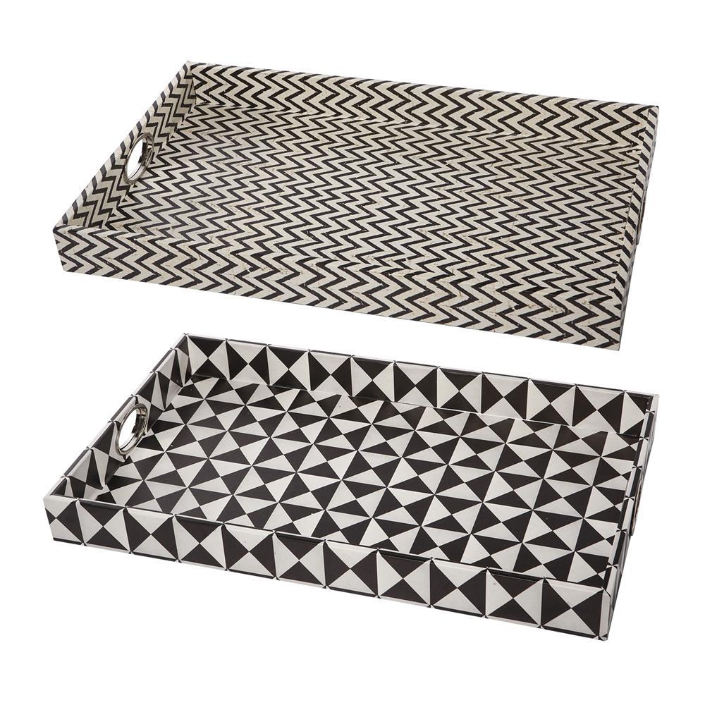 Hanley Geometric Black, White Trays (Set of 2)