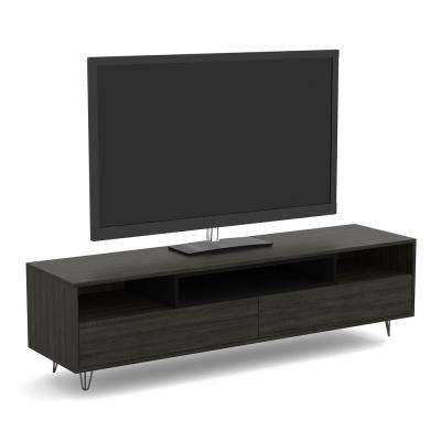 55 in. Grey Wood Tv Stand with 2-Drawers and 3-Shelves