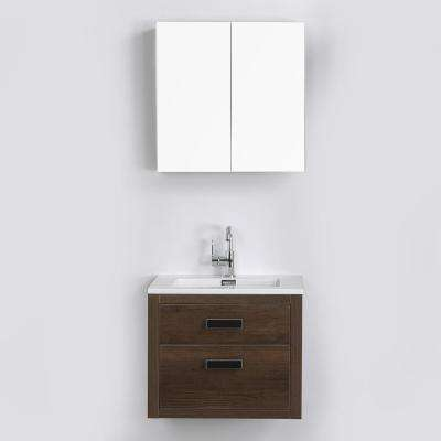 23.6 in. W x 19.3 in. H Bath Vanity in Brown with Resin Vanity Top in White with White Basin and Mirror