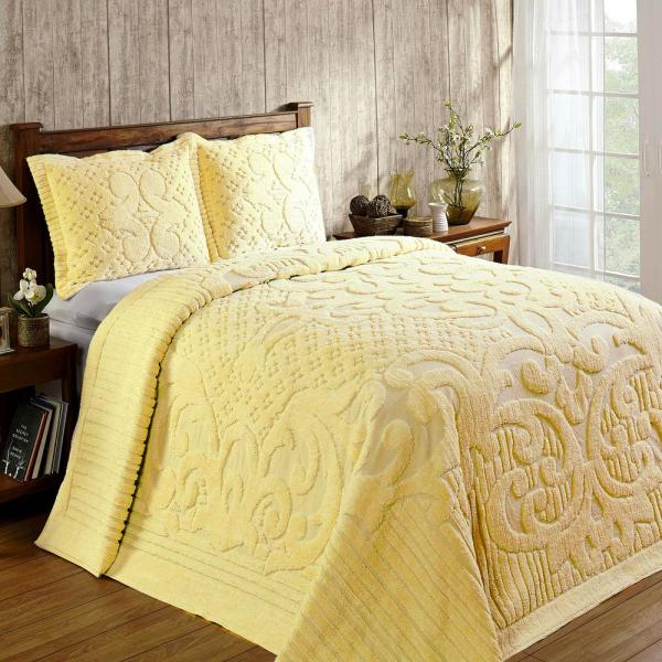 Ashton Collection in Medallion Design Yellow Queen 100% Cotton Tufted Chenille Bedspread