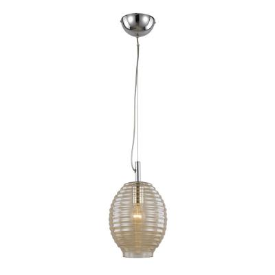 1-Light Polished Chrome Pendant with Amber Bee Hive Shade