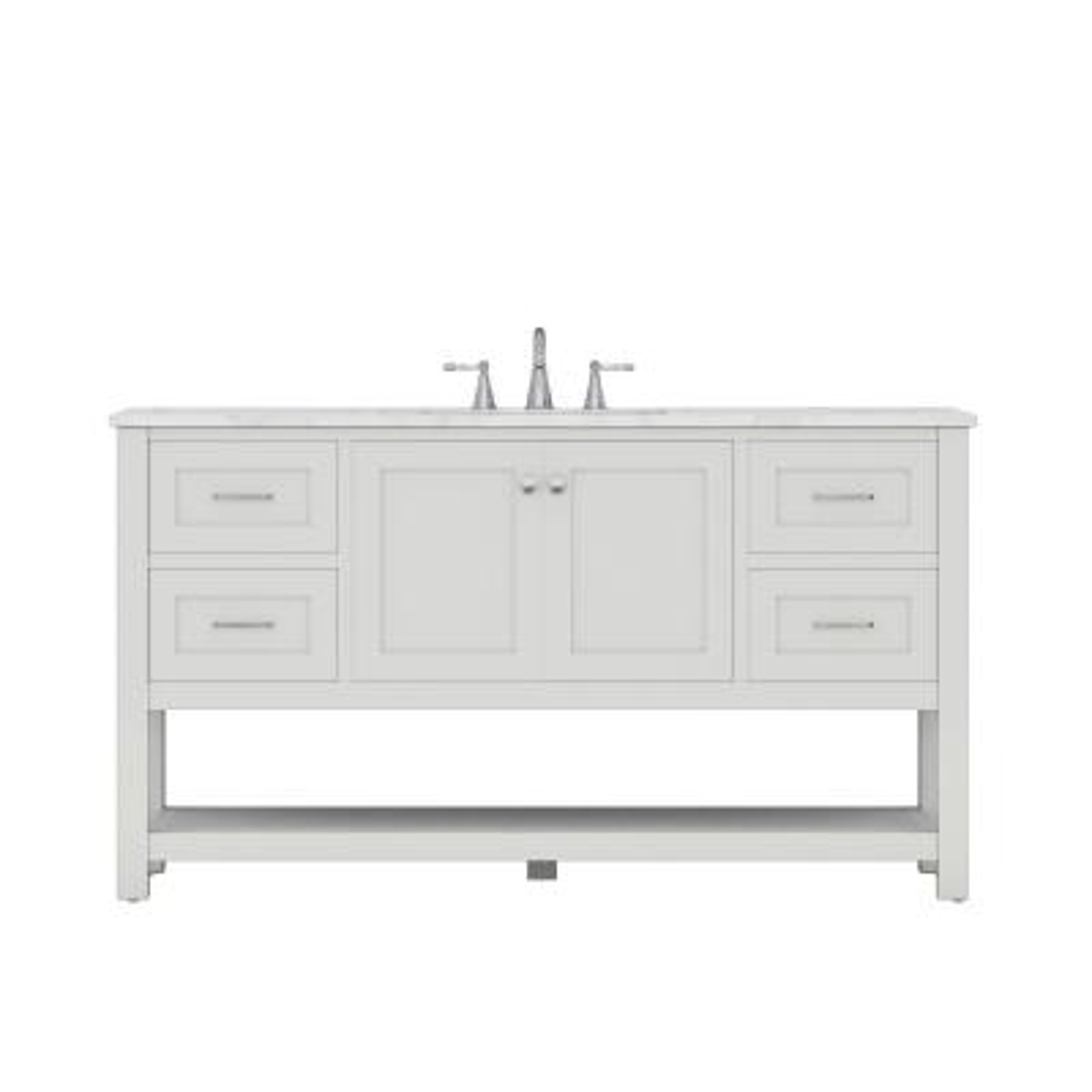 Wilmington 60 in. W x 34.2 in. H x 22 in. D Bath Vanity in White with Marble Vanity Top in White with White Basin