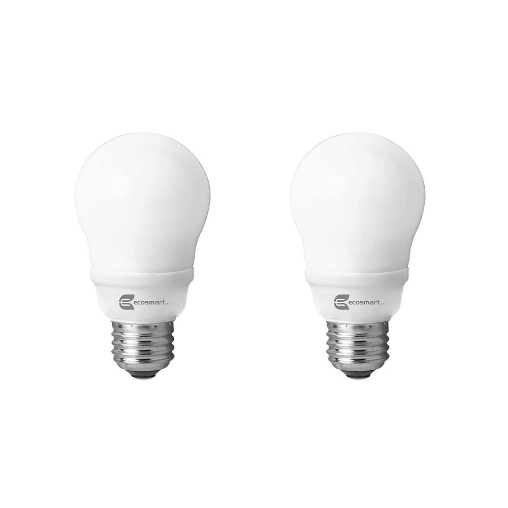 EcoSmart 60-Watt Equivalent Spiral Non-Dimmable CFL Light Bulb Soft White (2-Pack)