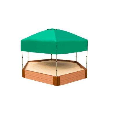 Classic Sienna 7 ft. x 8 ft. x 11 in. Composite Hexagon Sandbox Kit with Telescoping Canopy/Cover - 1 in. profile
