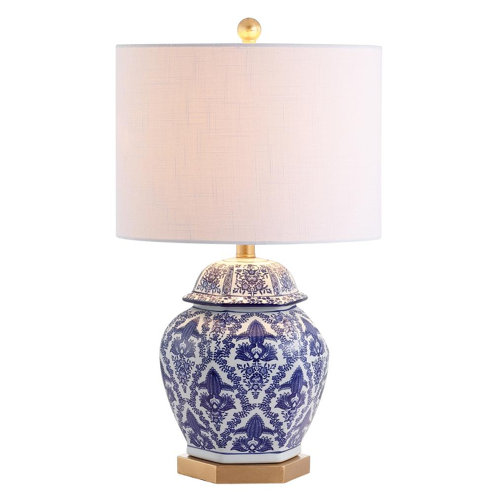Gretchen 25 In Ginger Jar Ceramic Metal Led Table Lamp Blue White Jyl3051a The Home Depot