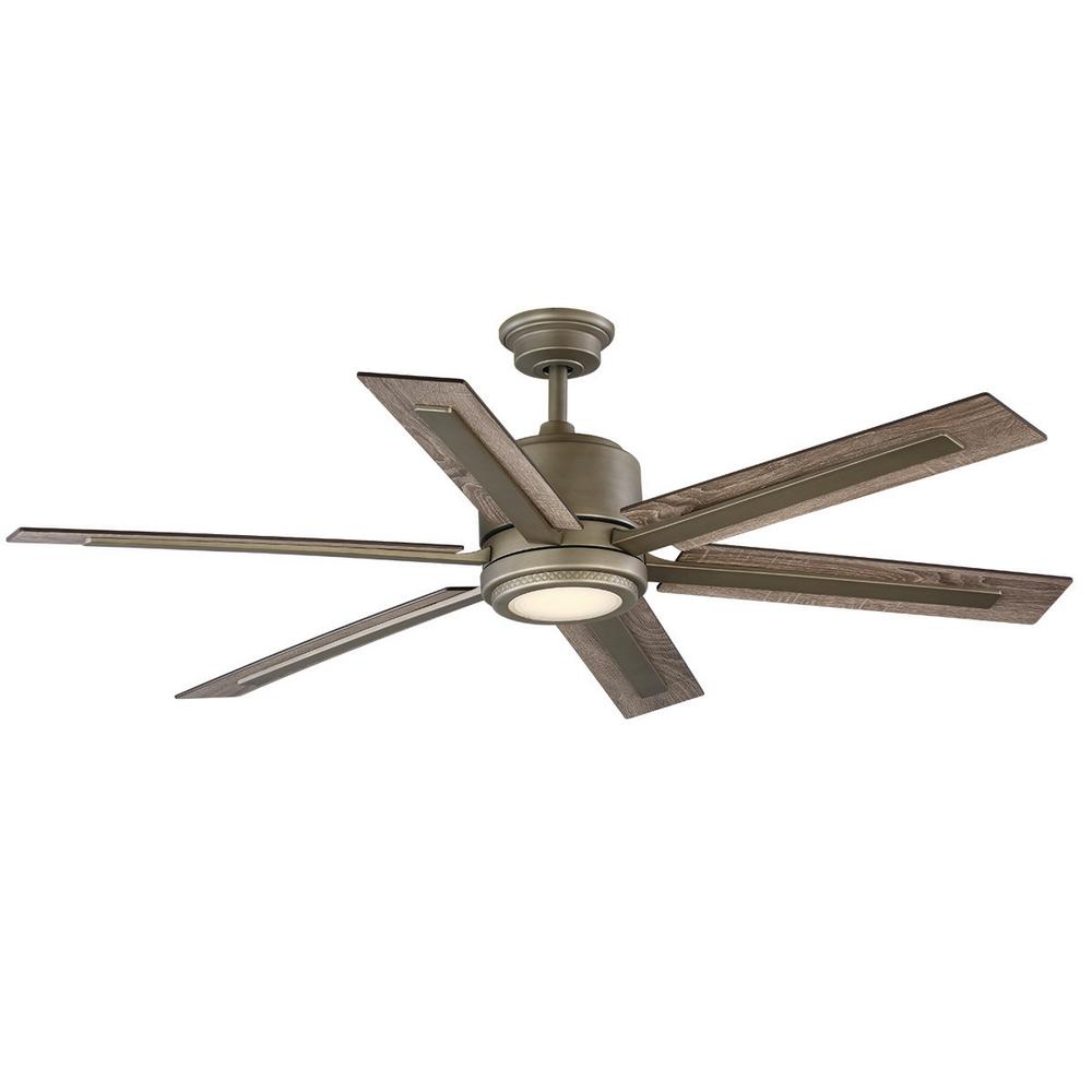 Home Decorators Collection Palermo Grove 60 in. Integrated LED Indoor Antique Nickel Dual Mount Ceiling Fan with Light and Remote Control