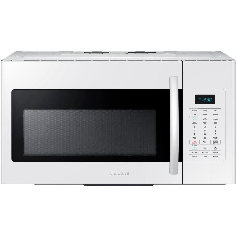 Samsung 30 In W 1 7 Cu Ft Over The Range Microwave Stainless Steel With Sensor Cooking Me17h703shs Home Depot
