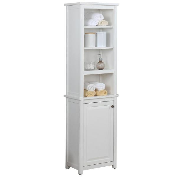 Dorset Bathroom 17 in. W Freestanding Storage Tower with Open Upper Shelves and Lower Cabinet in White