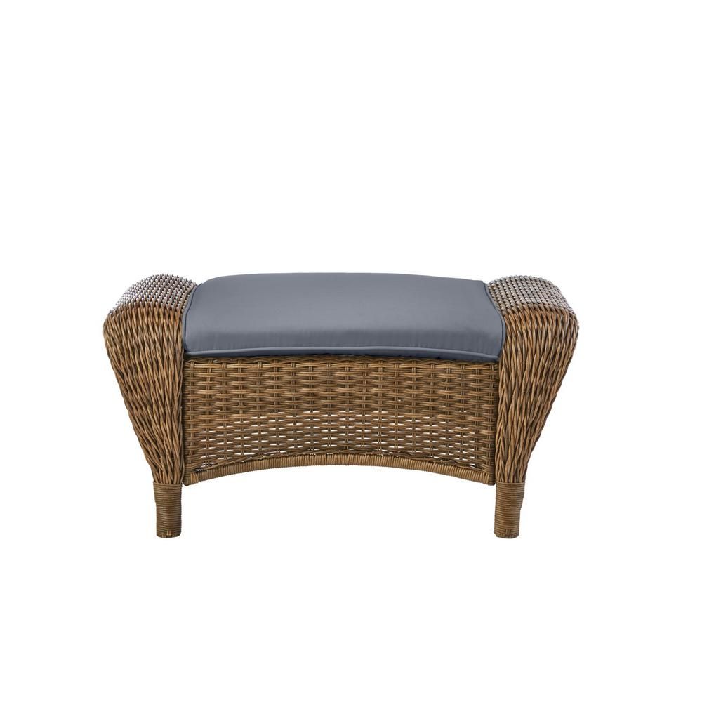 Hampton Bay Beacon Park Brown Wicker Outdoor Patio Ottoman with CushionGuard Steel Blue Cushions was $209.0 now $165.11 (21.0% off)